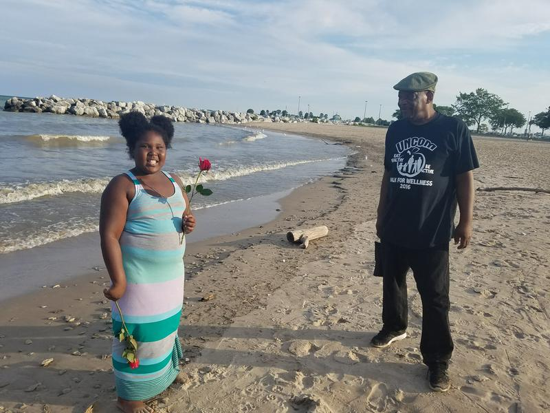 James Greer and his granddaughter Davianna at McKinley Beach, Milwaukee, WI