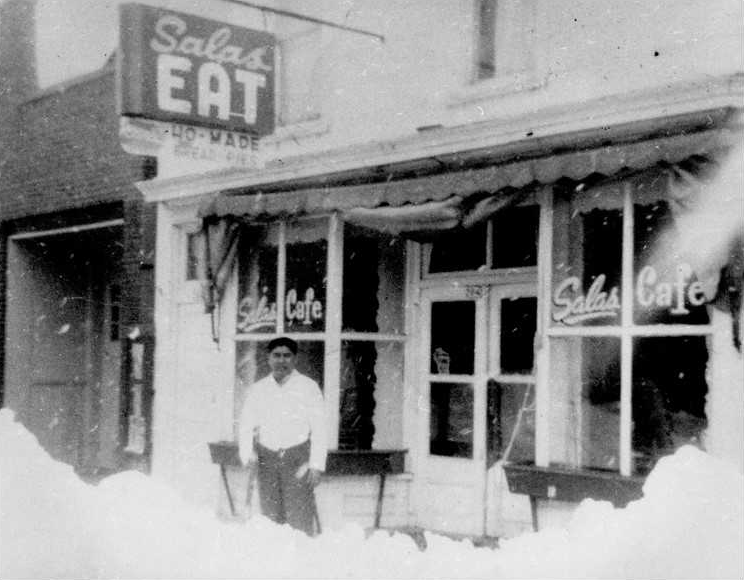 Manuel Salas in front of the Salas family diner in Wautoma, WI (1959-60).