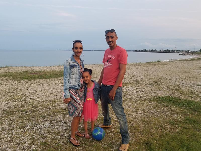 Alem Woldu Bogale (L), her daughter Christina (M), Sami Mohammed Ali (R), on the Milwaukee lakefront