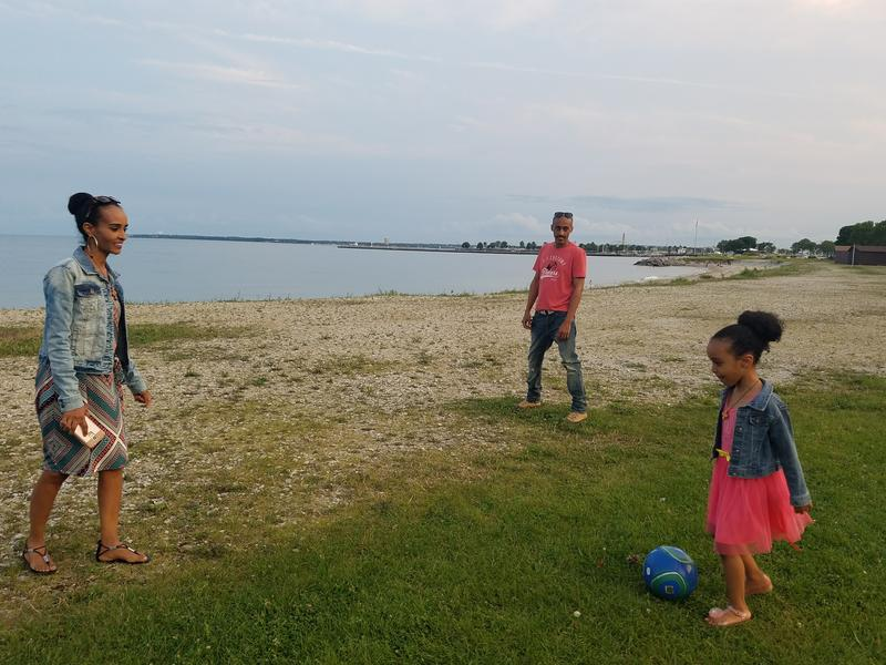 Soccer game on the lakefront
