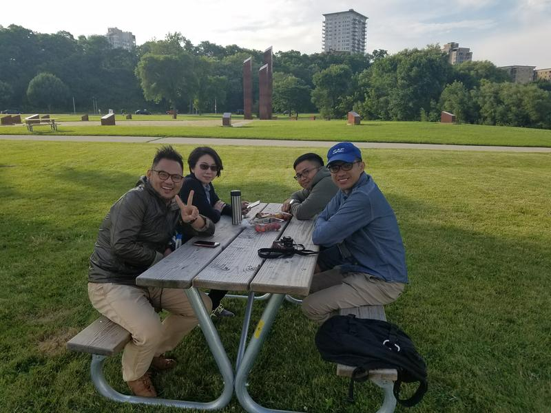 Taiwanese visitors (clockwise from left) Ammon Chueng, Pan Lien, Kobe Chen and William Lee at Veteran's Park