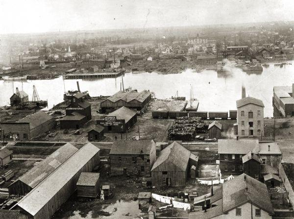 Elevated view of industrial waterfront and the Fox River (1889).