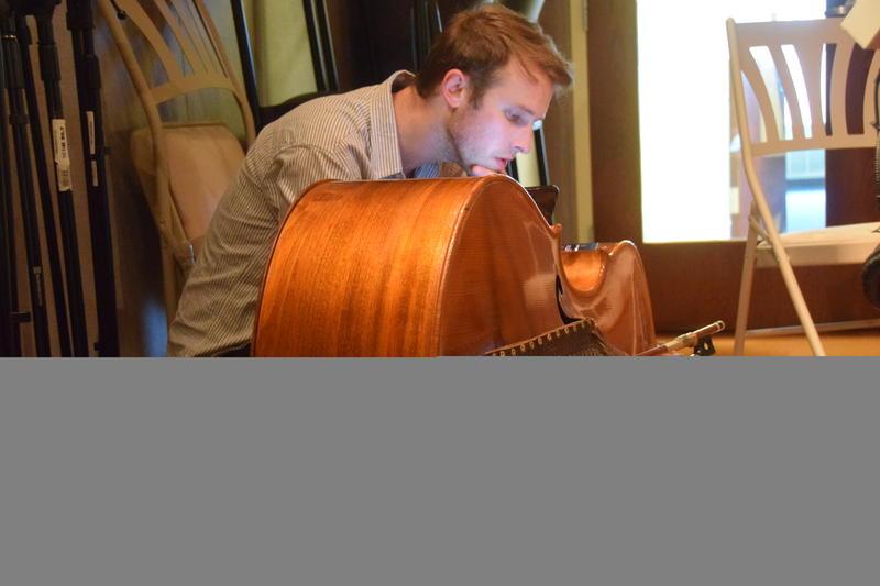 Bass player Dan Wolff in the Lake Effect Performance Studio.