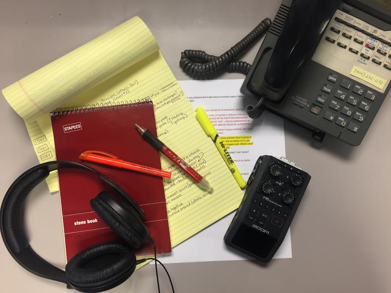 Take a peek inside the notebook (and around the messy desk) of WUWM education reporter Rachel Morello.