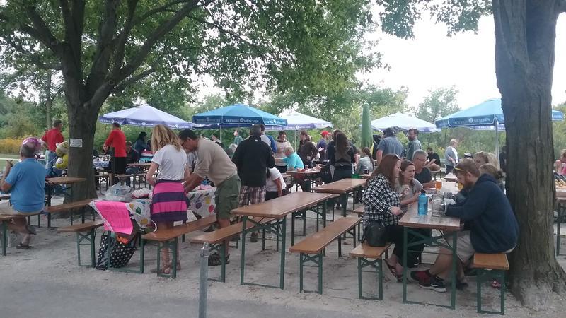 Hundreds enjoy family time at the beer garden at Estabrook Park