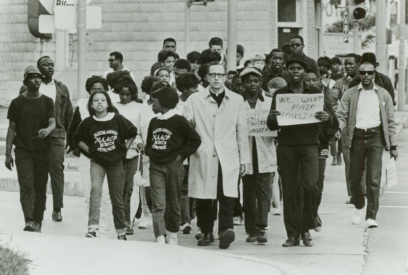 Father James Groppi and members of the NAACP Youth Council march in support of Vel Phillips' Open Housing bill on June 19, 1967.