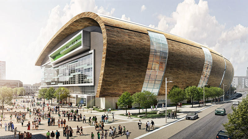 A rendering of the new Bucks arena.