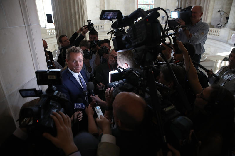 WASHINGTON, DC - OCTOBER 24: Sen. Jeff Flake (R-AZ) speaks to reporters on Capitol Hill after announcing he will not seek re-election October 24, 2017 in Washington, DC. Flake announced that he will leave the Senate after his term ends in 14 months.