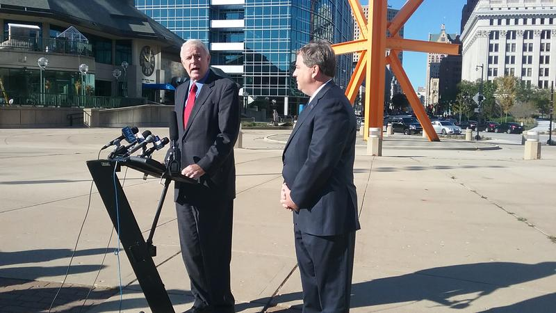 Milwaukee Mayor Tom Barrett (at podium) and Waukesha County Executive Paul Farrow discuss details of their bid for Amazon