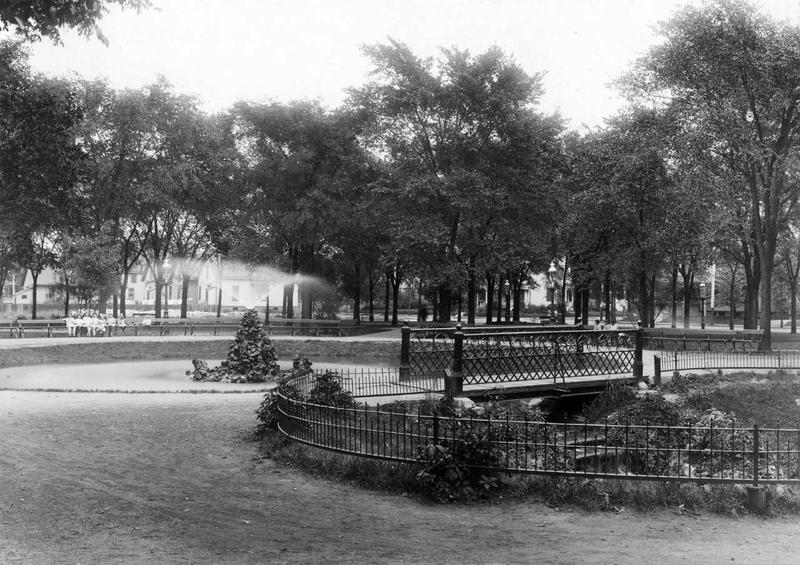 A historic photo of Clarke Square, an early Milwaukee park.