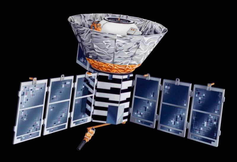 Artist's concept of the Cosmic Background Explorer (COBE) spacecraft.
