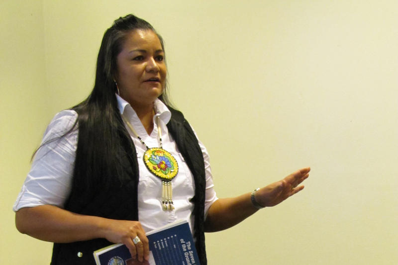 Tina Van Zile of the Sokaogon Chippewa Community addressed Marquette University students Tuesday.