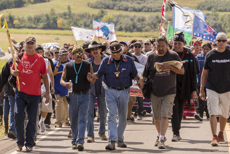 Dennis Banks leading the prayer group at Standing Rock