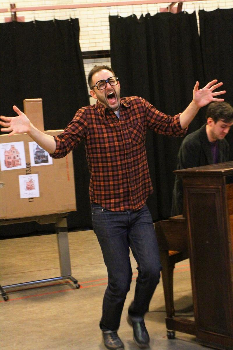Left to Right: Joe Kinosian and Matt Edmonds rehearsing 'Murder For Two' at the Milwaukee Rep