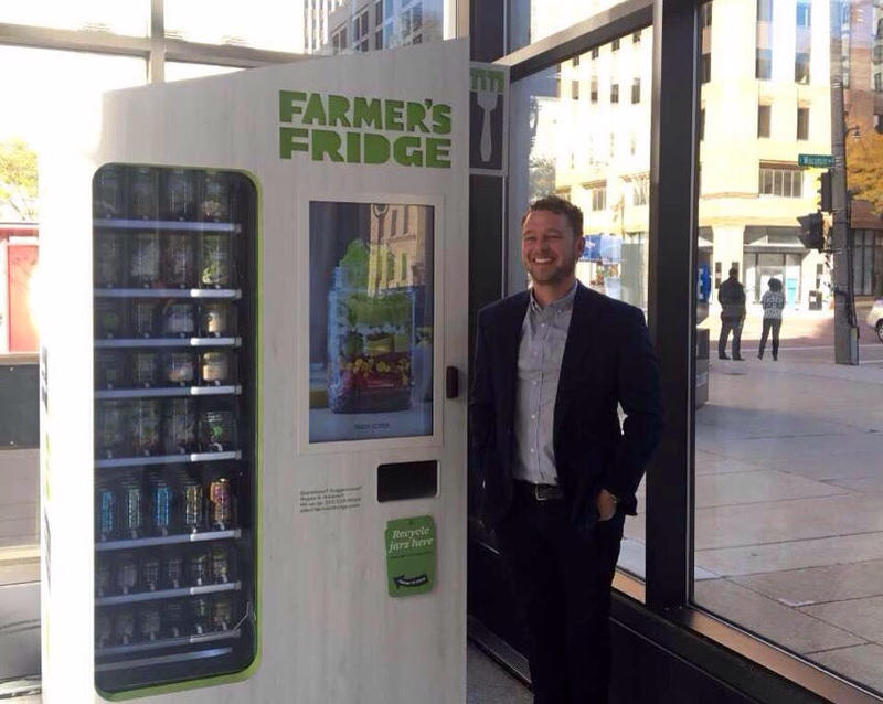 Luke Saunders visits Farmer's Fridge in the Chase Tower lobby in Milwaukee.
