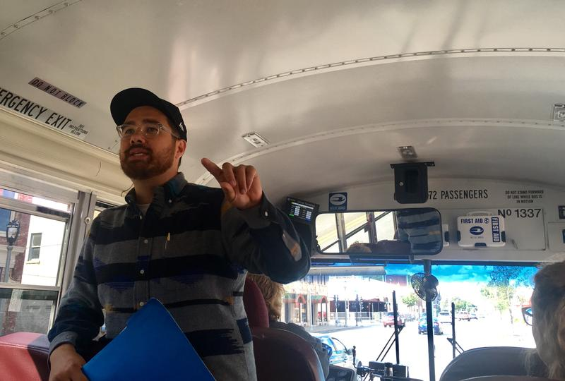 Adam Carr leads a tour of places important to the 1967 fair housing marches.