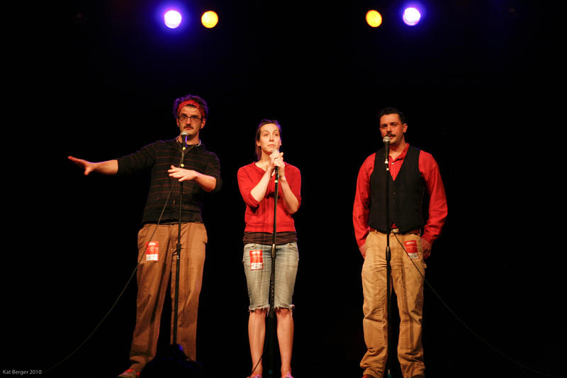 Storytellers (from left to right) Brian Moore, Liza Bielby, and Barney Baggett