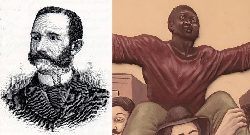 Left: a popular drawing of Joshua Glover; Right: how Glover is depicted on a Milwaukee mural.