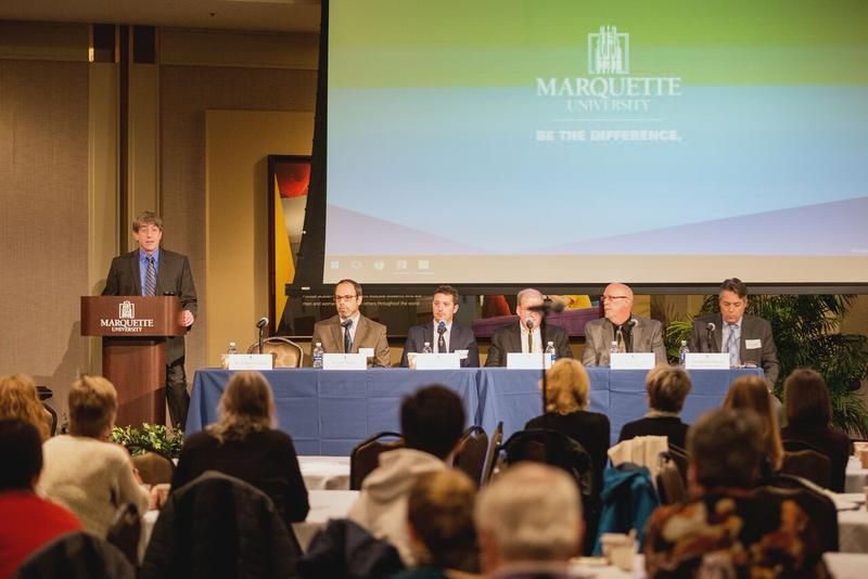 Panelists at the forum (L-R) Dr. John Mantsch, Dr. Matthew Hearing, Dr. Michael Bohn, Dr. Todd Campbell and Ald. Michael Murphy.