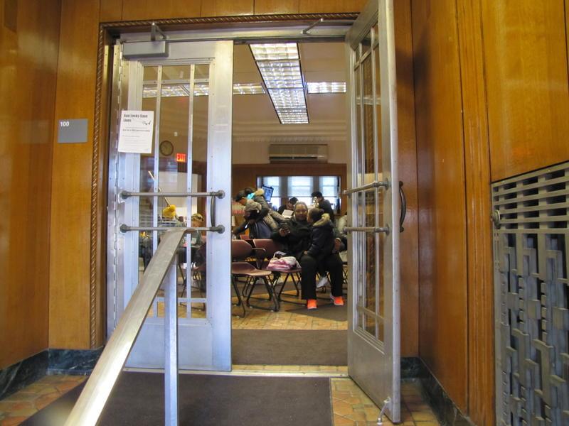 Families wait their turn for lead testing inside Keenan Health Center