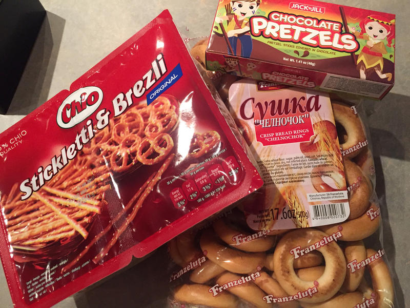 Chio's Stickletti & Brezli, Jack 'n Jill's Chocolate Pretzels and Franzeluta's Chelnochok.