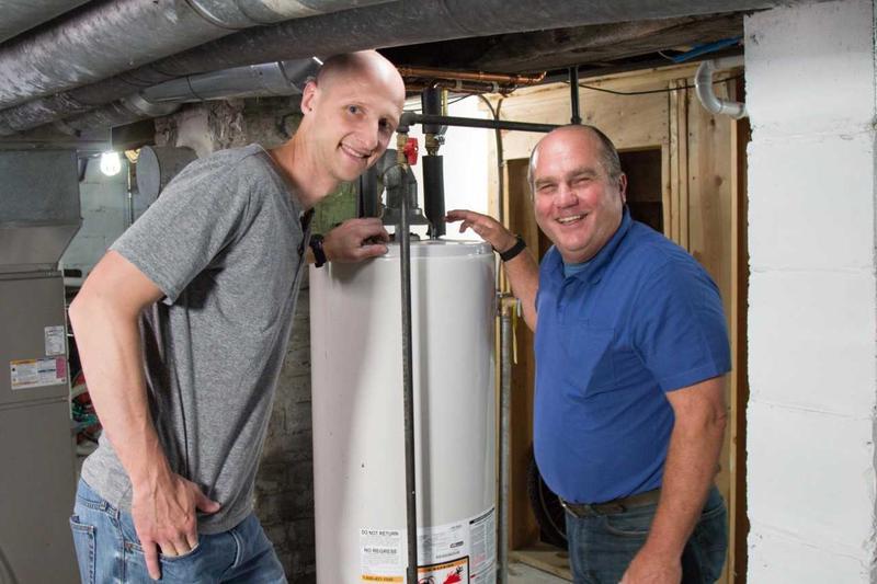 "Milwaukee homeowner Mark Nagel with Richard Trethewey of ""Ask This Old House."""