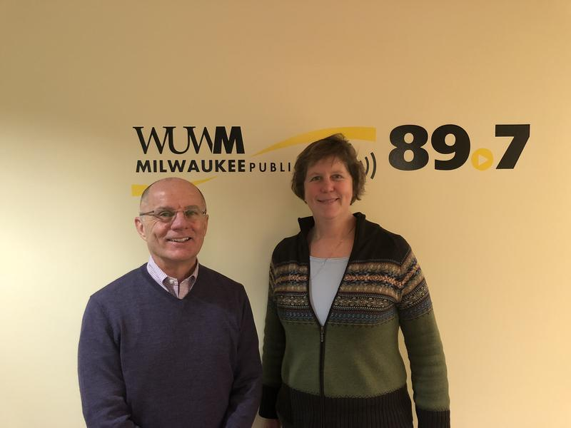 UWM Today's Tom Luljak with Rebecca Neumann.