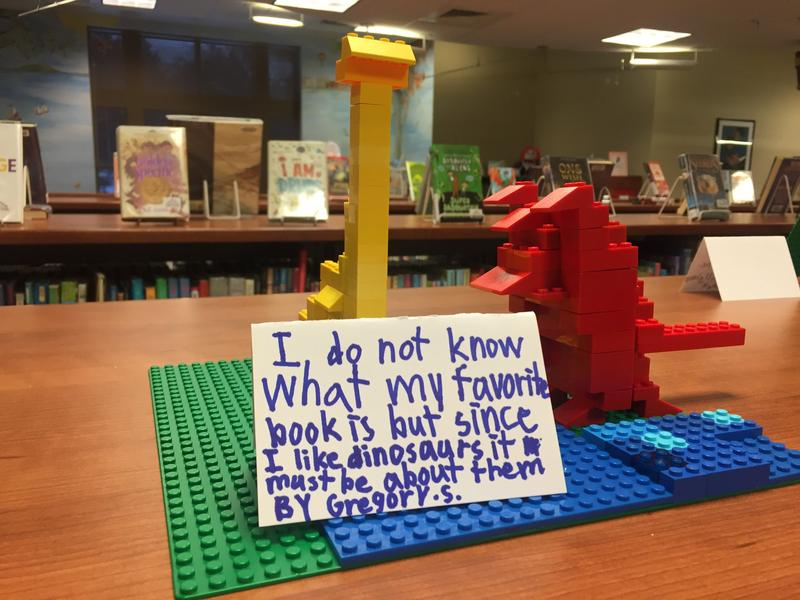 "A student creation from Pewaukee Public Library's ""Lego Club,"" based on the prompt of the week: Build something that represents your favorite book."