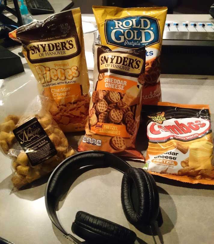 Our assortment of cheddar pretzels.