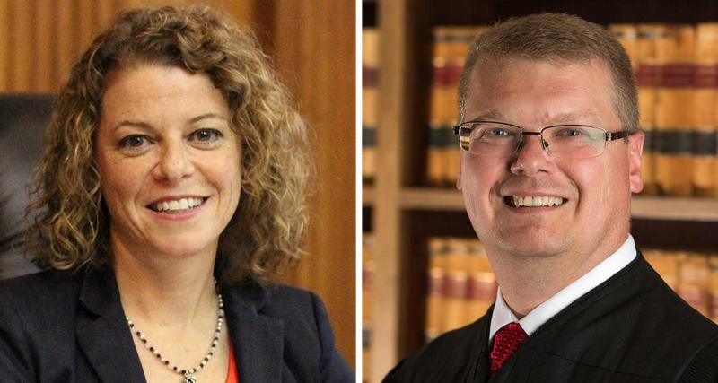 Wisconsin Supreme Court candidates Milwaukee County Circuit Judge Rebecca Dallet and Sauk County Judge Michael Screnock.