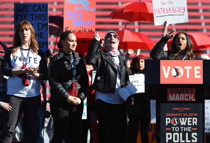 Women's March 'Power to the Polls' voter registration tour launch at Sam Boyd Stadium on January 21, 2018 in Las Vegas, Nevada.