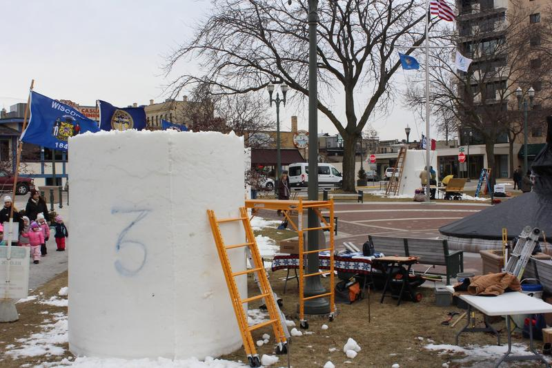 The blocks of snow on the first day of the sculpting process in Lake Geneva, Wisconsin.