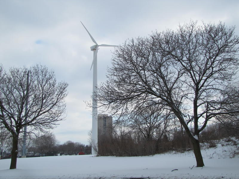 The wind turbine located south of downtown Milwaukee.