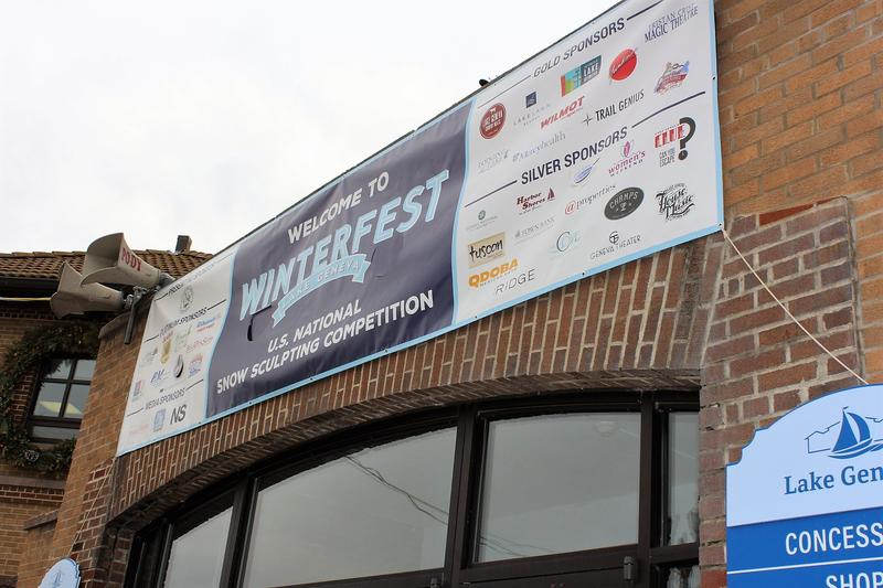 A banner for Winterfest, the annual festival that features the U.S. Snow Sculpting Competition.