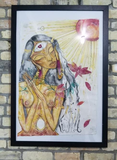 Local Artist Gabrielle Tesfaye interprets the works of Wangechi Mutu.