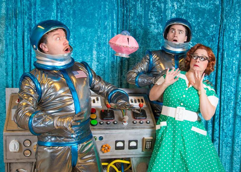 Rick Pendzich (Rick Jones), Matt Frye (Trenton Corbett) and Meghan Randolph (Charlene) in rehearsal for Skylight Music Theatre's 'Zombies from The Beyond'