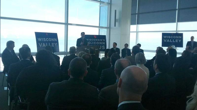 Gov. Walker speaks at a news conference in downtown Milwaukee Tuesday