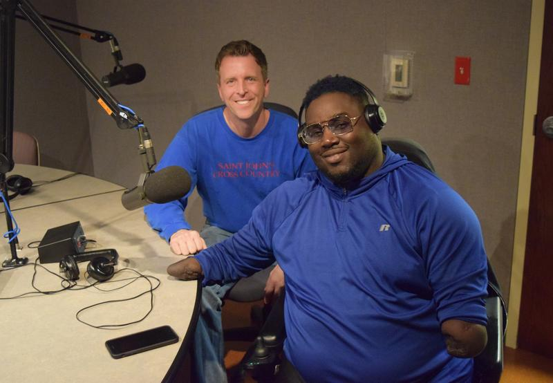 Milwaukee writer Dan Simmons (left) with Joe Reed in the Lake Effect studio.