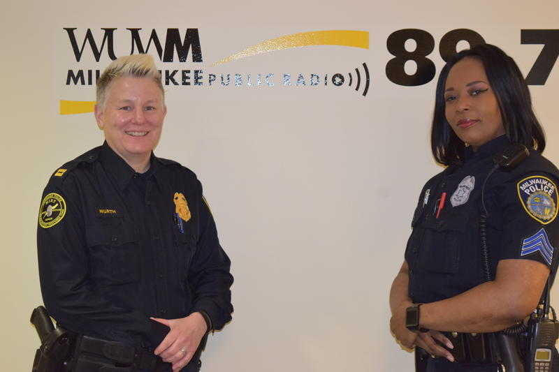 Captain Heather Wurth (L) and Sergeant Sheronda Grant (R) visited WUWM to talk about the police-community partnerships the public doesn't get to see.