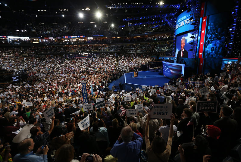 Former U.S. President Bill Clintonspeaks on stage during day two of the Democratic National Convention at Time Warner Cable Arena on September 5, 2012 in Charlotte, North Carolina.