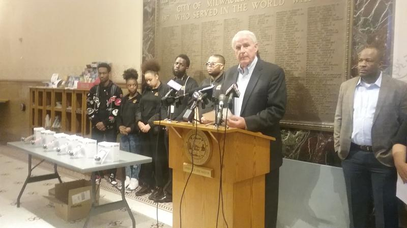 Milwaukee Mayor Tom Barrett rolls out free gun lock program at City Hall