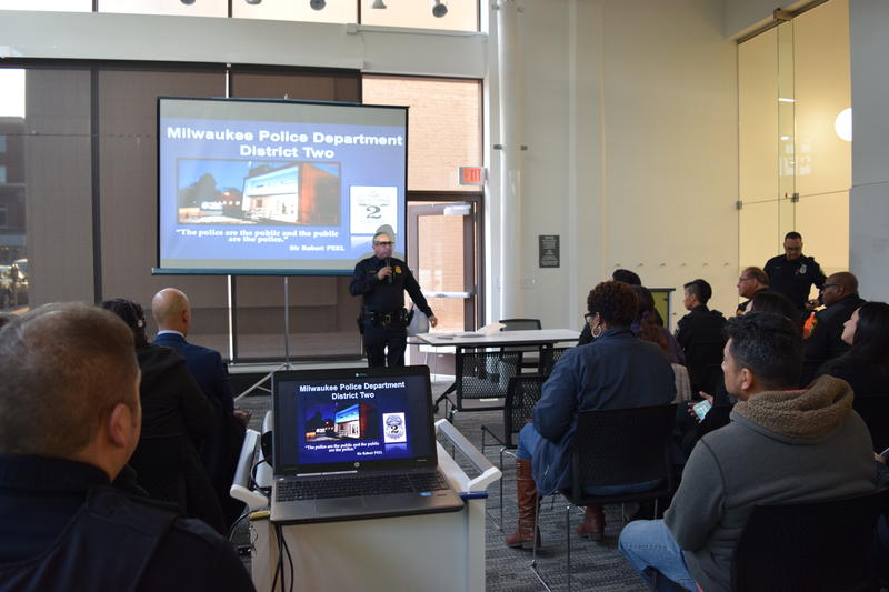 Police Captain Alex Ramirez presents crime statistics at a recent meeting