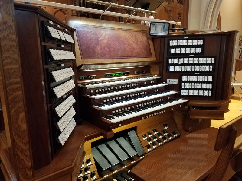 The organ console at Church of the Gesu