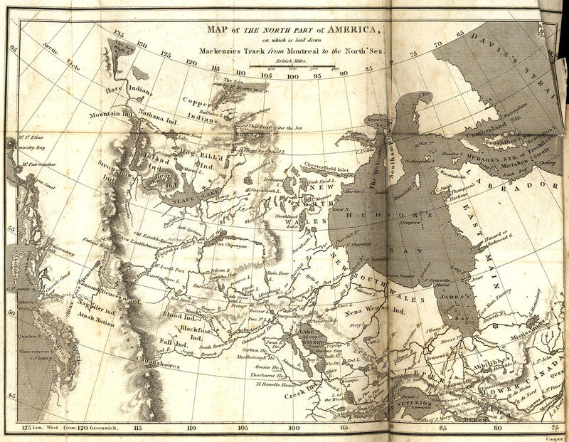 Map of the north part of America on which is Mackenzie's track (dotted line) from Montreal to the North Sea.