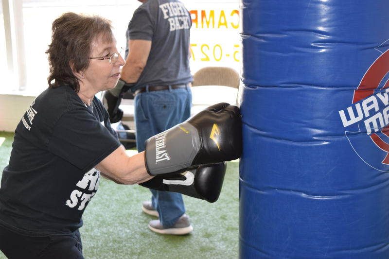 Cricket Kriehn (also known as Bionic Woman) throws some punches at Rock Steady Gym in West Allis.
