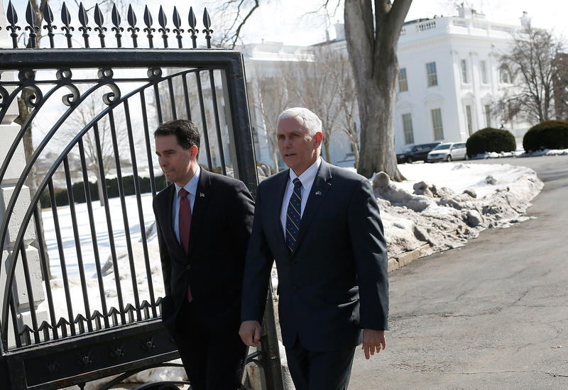 Gov. Scott Walker and Vice President Mike Pence departing from the White House in 2015, when Pence was then Indiana's governor.