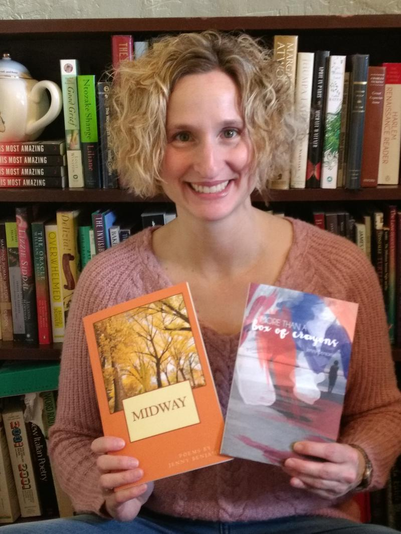 Poet Jenny Benjamin, with her two recently published poetry collections.