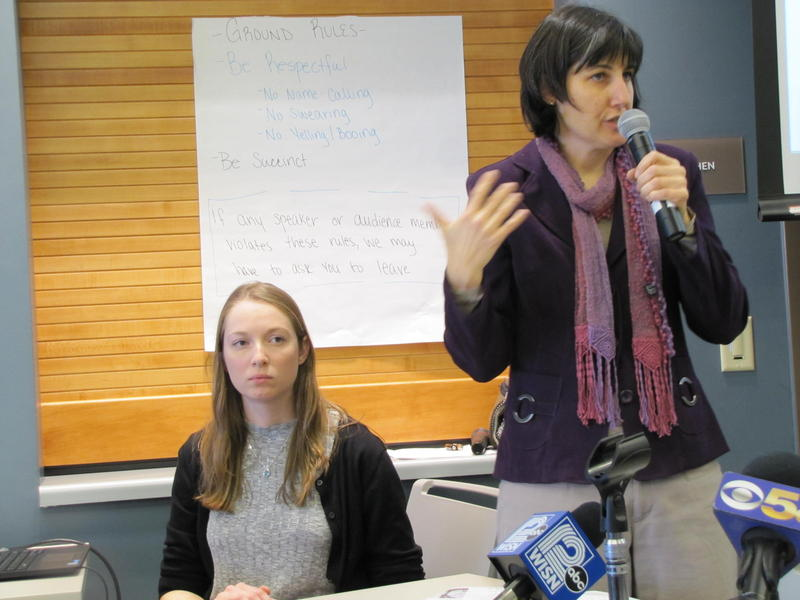 Sister Rejane Cytacki (right), executive director of the Eco-Justice Center of Racine located two miles south of the Oak Creek Power Plant, facilitated the listening session.