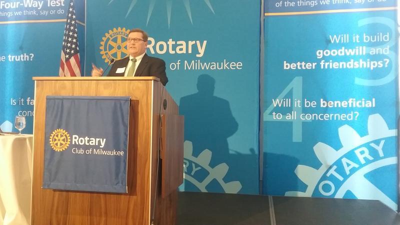 Former DOA Secretary Scott Neitzel spoke to the Rotary Club in Milwaukee on Tuesday