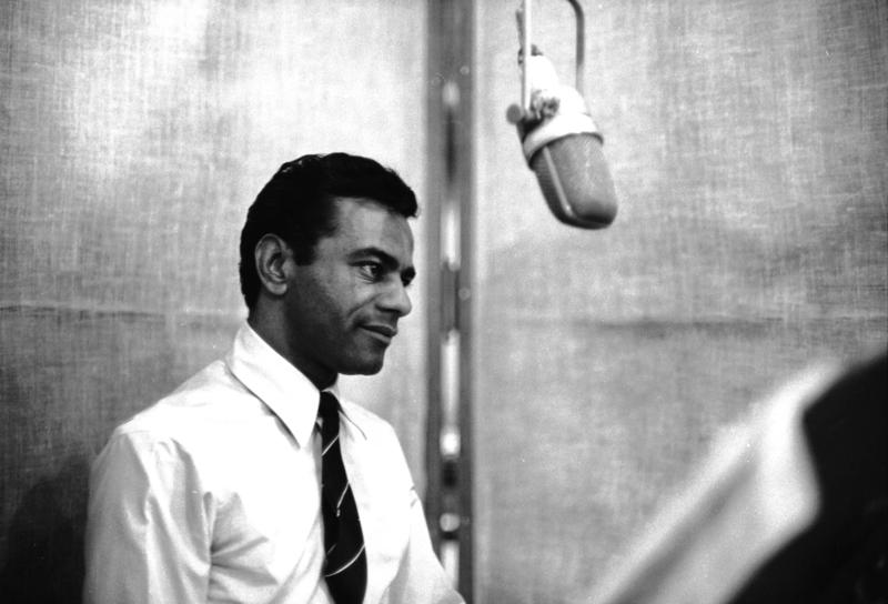 Johnny Mathis in a 1960s recording session in New York.